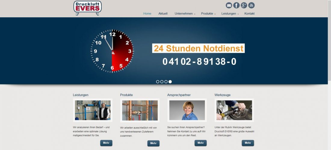 "Website-Content ""Druckluft Evers"""